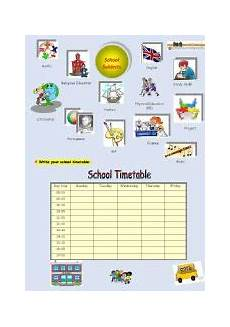 school subjects and timetable esl worksheet by crisg