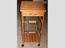 New Rolling Vegetable Cart with 2 Bins 1 Drawer 1 Shelf