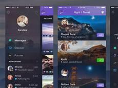 showcase of side menus in app design