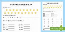 subtraction worksheets to 20 10266 subtraction within 20 worksheet worksheet made