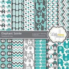 elephant digital scrapbook paper turquoise gray