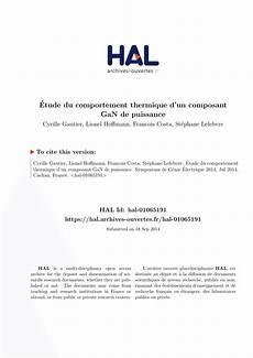 Etude Du Comportement Pdf 201 Tude Du Comportement Thermique D Un Composant Gan