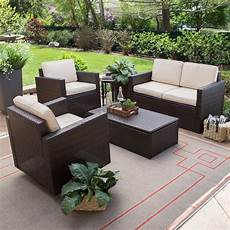 outdoor wicker resin 4 piece patio furniture dinning with 2 chairs loveseat and coffee table