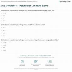 quiz worksheet probability of compound events study