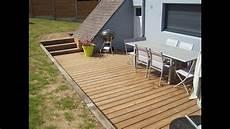 terrasse bois cloture muret bois engazonnement