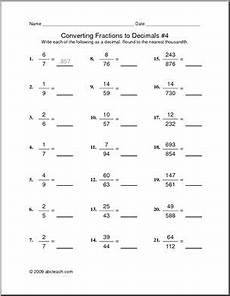 math worksheets for grade 4 fractions and decimals 7442 worksheet convert fractions to decimals 4 abcteach