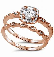 sterling silver 925 rose gold cz halo style