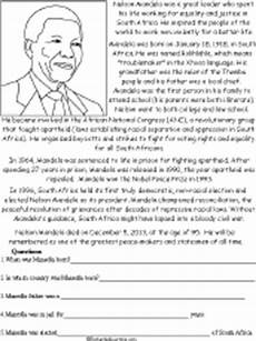 grade 4 history worksheets south africa nelson mandela read and answer enchantedlearning com