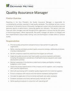 quality assurance managerposition overviewreporting to the vice president the quality assurance
