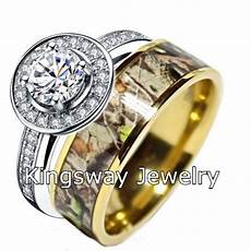 camo wedding ring for him and titanium silver