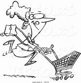Vector Of A Cartoon Woman Power Shopping  Outlined