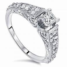 5 8ct vintage filigree princess cut diamond engagement ring 14k white gold ebay