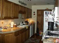 paint color for small galley kitchen oak cabinets flooring