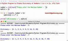 python program to create dictionary of numbers 1 to n in form