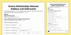 inverse relationships between addition and subtraction worksheet worksheet