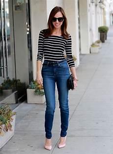 high waist jeans auf rechnung sydne style guesss striped shirt how to wear high waist