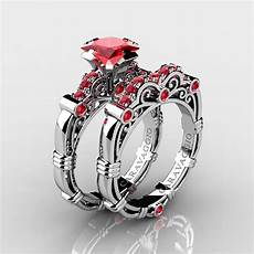 art masters caravaggio 14k white gold 1 25 ct princess ruby engagement ring wedding band