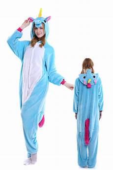 blue unicorn kigurumi onesie pajamas soft flannel unisex