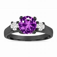 amethyst and diamonds engagement ring three stone engagement ring 1 55 carat purple amethyst