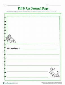 fill it up journal page worksheet education com
