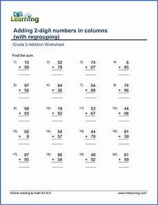 2nd grade math worksheet 2 digit addition with regrouping grade 2 math worksheet add 2 digit numbers in columns