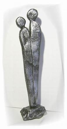 moderne skulptur silber paar deco figur abstrakt menschen