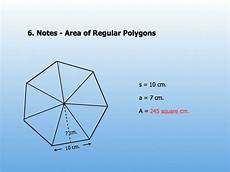 there are a number of area of a regular polygon formulas as shown below in regular polygons all