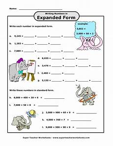 worksheets on writing numbers in standard form 21208 expanded thousands elephants