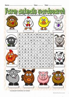 animal word search worksheets 14374 farm animals wordsearch esl worksheets for distance learning and physical classrooms