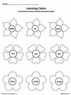 colors tracing worksheets 12820 learning colors and tracing flowers worksheet renkler matematik ingilizce