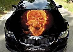 Flame Skull Full Color Graphics Adhesive Vinyl Sticker Fit