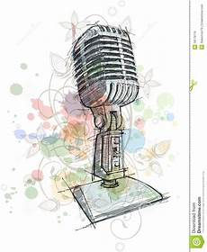Vintage Microphone Sketch Floral Ornament Stock Vector