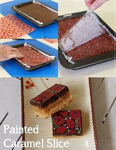 using the poppy chocolate transfer sheet we poshed up so old school caramel slice so easy and