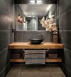 beautiful bathroom wooden vanity large grey tiles