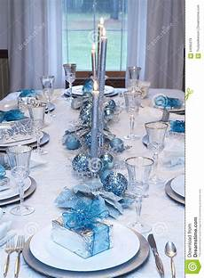 Silver And Blue Decorations by Table Setting Blue White Stock Image