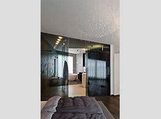 Dark Glass Wall, Bathroom, Bedroom, Concrete Interior