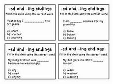 ing and ed endings centers work with worksheets task cards and charts