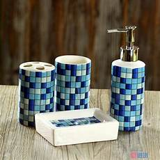 4 pcs set fashion mosaics ceramic bathroom accessories set sanitary combination wash tool hot