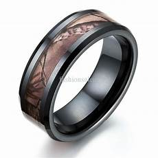 fashion 8mm black camouflage ceramic ring womens mens