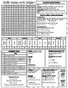 homework helper math reference sheet for 5th grade by catherine arnold