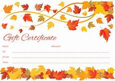 thanksgiving gift card template customizable to fall gift certificate template
