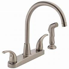 lowes kitchen faucets shop peerless stainless 2 handle high arc kitchen faucet with side spray at lowes