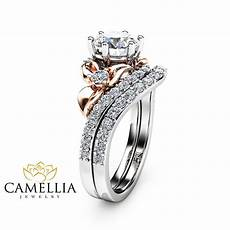 moissanite unique engagement ring set 14k two tone gold