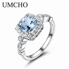 umcho real s925 sterling silver rings for blue topaz