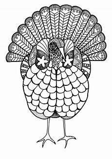 colorful turkey adult coloring page favecrafts com