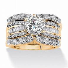 3 piece 5 62 tcw cubic zirconia bridal ring in 18k gold over sterling silver palm