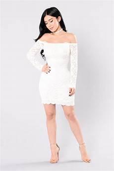 shoulder lace bodycon dress white