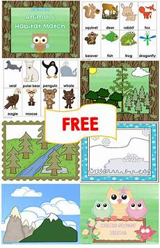 animal and habitat match free printables preschool speech kindergarten science animal