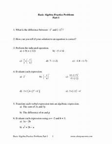 basic algebra practice problems part 1 worksheet for 6th 8th grade lesson planet