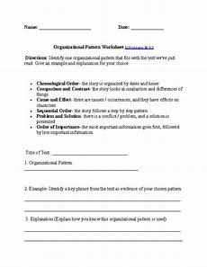 organizational patterns worksheet ela literacy w 6 2